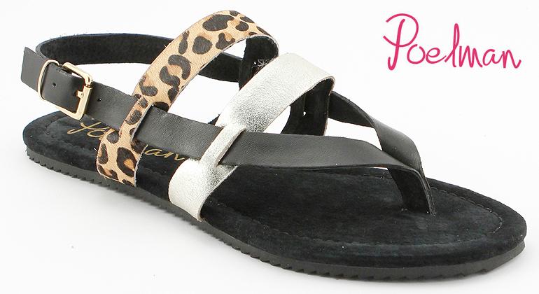 Sandale Leopard Look Metallic Poelman