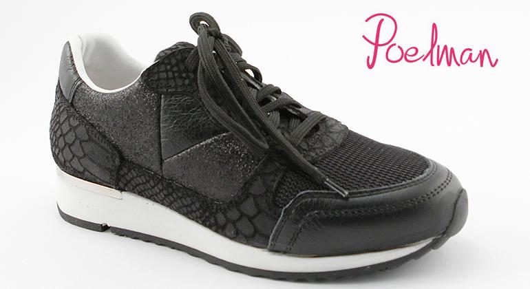 Trend Sneaker Poelman Black Reptile