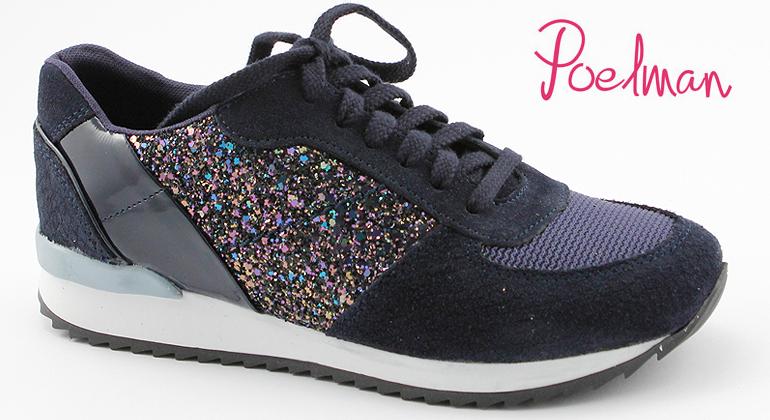 Trend Sneaker Poelman Navy Glitter